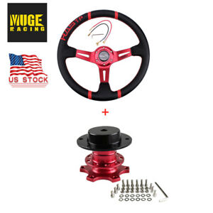 Us Red 14 Deep Dish Drifting Steering Wheel Quick Release Adapter Racing Car