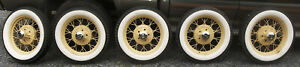 5 Original 1930 1931 Model A Ford 19 Wire Spoke Wheels Tires Hubcaps Vry Nice