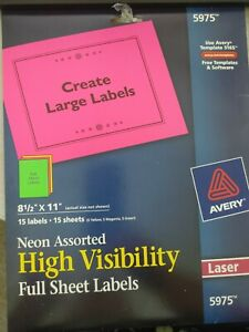 5975 Avery Shipping Labels Neon High Visibility 8 5x11 Full Sheet