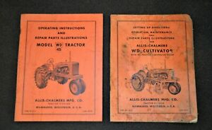 1953 57 Allis Chalmers Model wd45 Tractor Wd Cultivator Operating Manuals
