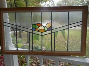 Sk 432 Large Transom Style Leaded Stain Glass Window F England 39 5 8 X 22 1 8