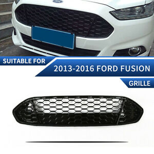 For Ford Fusion 2013 2016 Front Upper Grille Grill Honeycomb Mesh Gloss Black
