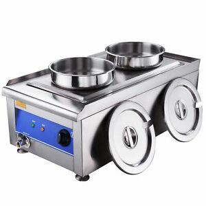 Commercial Food Warmer W 2 Pots Stainless Steel Soup Station Steam Kitchen 1200w