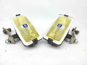 Vintage Hella Rectangle Lights Yellow Lens W Mount Arms