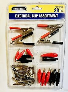 28 Pc Electrical Alligator Clamp Assortment Clip Charging Test Lead Battery Kit