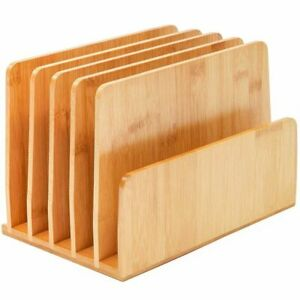 Bamboo Wood Desk File Organizer Holder For Book Mail Upright 10 X 6 5 X 7