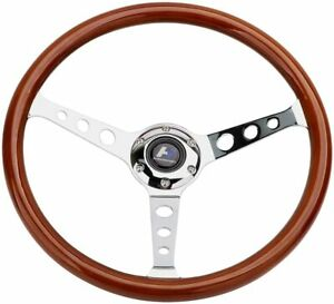 Hiwowsport 380mm Chrome Dark Steering Wheel Real Wood Riveted Grip 15 6 Hole