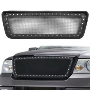 Mesh Rivet Front Upper Bumper Hood Grille Grill Fits 2004 2008 Ford F 150 Ss