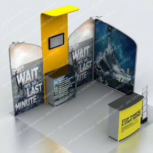 10ft Portable Trade Show Display Modular Booth Pop Up Banner Stand All Included