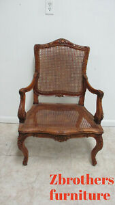 Vintage Custom French Country Arm Lounge Chair Cane Seat Carved Made In Italy