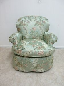 Century Furniture Asian Inspired Tuft Silk French Living Room Lounge Arm Chair