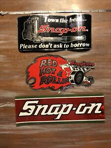 3 Vintage Snap On Tools Tool Box Bumper Sticker Decal Red Hot Rollin Plus 2