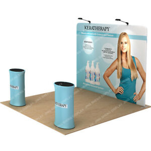10ft Tension Fabric Trade Show Display Pop Up Stand Booth Backdrop Wall Expo