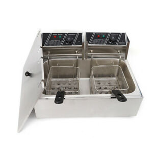 12l Electric Countertop Stainless Steel Commercial Dual Tank Deep Fryer 5kw Usa