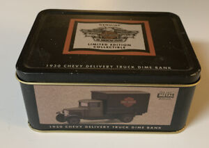 New Harley Davidson 1930 Chevy Delivery Truck Dime Bank In Tin 143 Scale
