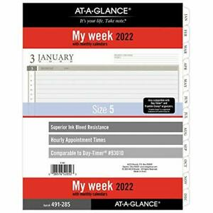 2022 Weekly Planner Refill By At a glance 93010 Day timer 8 1 2 X 11 Size 5