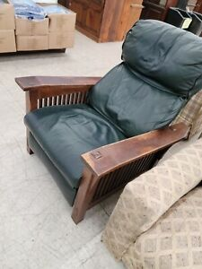 Stickley Reclining Chair Bow Arm Green Upholstery Very Nice
