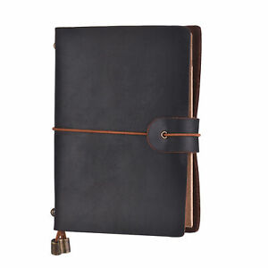 Student Notebook Journal Notepad Diary Vintage Soft Cover Leather Kids Gift G4z7