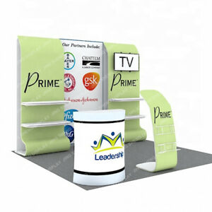 10ft Custom Fabric Trade Show Display Booth Expo Kit With Tv Mount Shelves