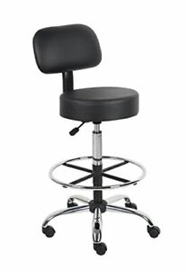 Boss Office Products B16245 bk Be Well Medical Spa Drafting Stool With Back B