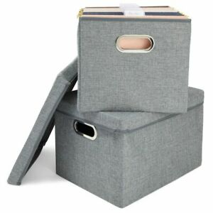 2x Linen Fabric File Storage Boxes Document Organizer With Lids For Filing