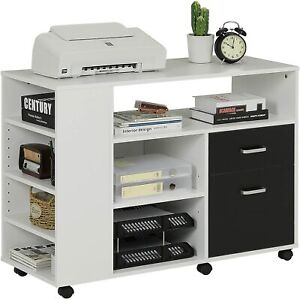 39 Home Office Wood Filing Cabinet Storage W wheels Shelves Printer Stand