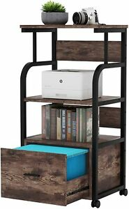 Home Office Rolling Filing Cabinet Printer Cart With Storage Shelves 3 Colors