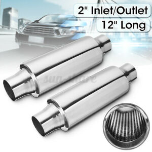 2 Pcs 2 Inlet Outlet Performance Diesel Muffler Exhaust Resonator 12 Overall