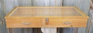 Wooden Plexi Showcase Country Store Vintage Display Cabinet Counter Top Sign E