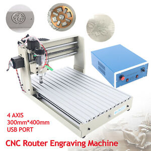 Usb 4 Axis Cnc Router Engraver Wood Cutter Rilling Milling Machine 400w Ac110v