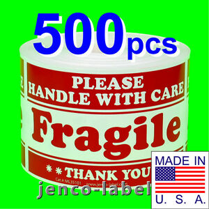 Ml35101 500 3x5 Handle With Care Fragile Labels sticker