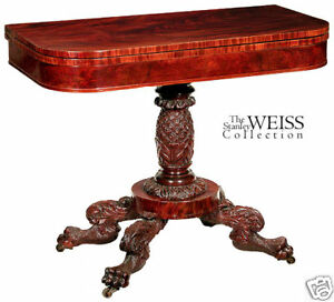Swc Carved Classical Card Table New York C 1820
