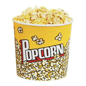 Popcorn Supplies Yellow Popcorn Tubs 85oz Qty Of 25