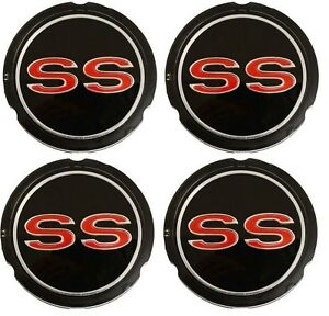 1965 1966 Chevy Impala Ss Wheel Cover Hub Cap Emblem Super Sport Set