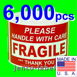 Ml35104 6 000 3x5 Handle With Care Fragile Label sticker