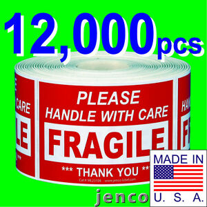Ml23104 12 000 2x3 Handle With Care Fragile Label