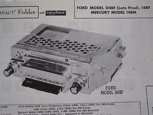 1960 Ford 04bf Late Production 1961 Ford 14bf Mercury 14bm Radio Photofact