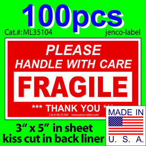Ml35104 100s 3x5 Handle With Care Fragile Label sticker