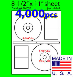 4 000 Stomper Compatible Cd dvd Labels Matte White Laser Inkjet