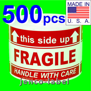 Ml35116 500 3x5 This Side Up Fragile Labels stickers