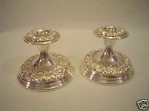 Pair Kirk Sterling Silver Repousse Candle Holders Candlesticks 109
