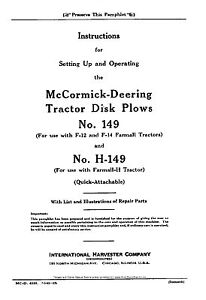 Mccormick Model 149 H149 Disk Plows Operators Owners Manual H F12 F14 Tractor