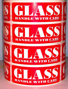 500 1x3 Fragile Glass Handle With Care Label Sticker