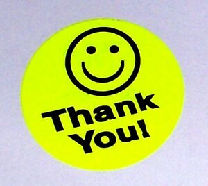 5000 1 5 Thank You Smiley Label Sticker Yellow Free Shipping