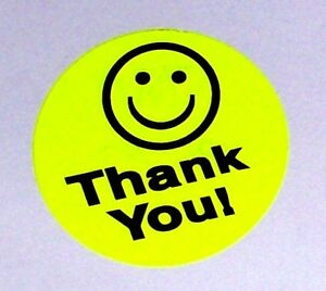5000 1 5 Thank You Smiley Label Sticker Yellow Fs