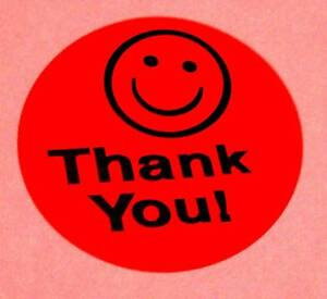 5000 1 5 Thank You Smiley Label Sticker Red Fs