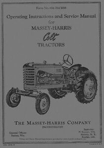 Massey Harris Colt Tractor Operators Operating Instructions And Service Manual