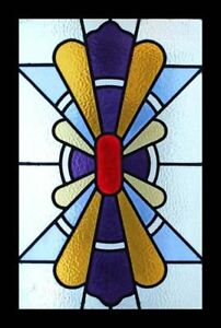 Stunning Classic English Art Deco Stained Glass Window