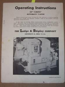 Lodge Shipley 30 T matic T lathe Operation Manual
