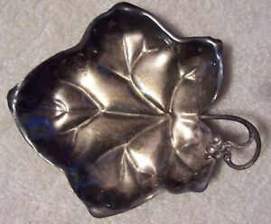 Antique Silverplate Grape Leaf Candy Dish Serving Bowl